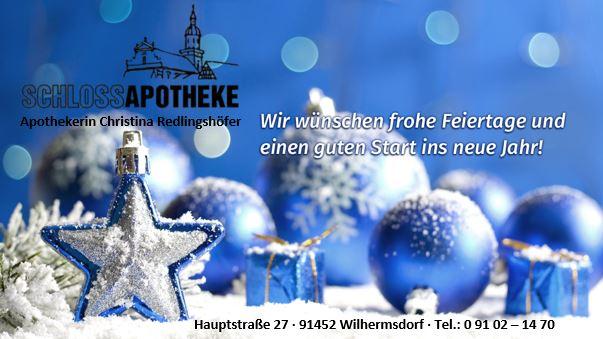 Frohe Weihnachten! – Wünscht Ihre Schloss Apotheke Wilhermsdorf